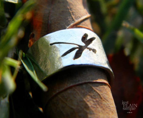 Ear cuff, Dragonfly, sterling silver, handmade, insects, silhouette,
