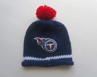 TENNESSEE TITANS, Hand Knit Baby Hat, Football Baby Hat, Baby Hat, Tennesse Baby Hat, Titans Baby, Tennessee  Baby Hat