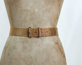 "Vintage 1980s Gold Mesh Belt Waist 26-29"""