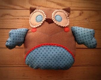 Owl -handmade cushion-owl- cloth doll- OOAK