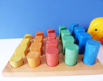 Vintage wooden shape sorter shape size and colours
