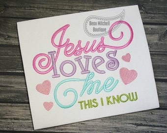 Jesus loves me embroidery design