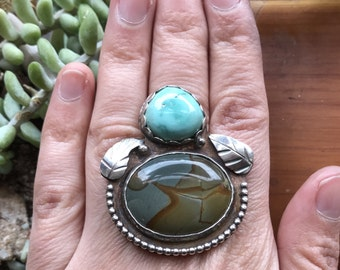 Large picture jasper and turquoise statement ring. Handmade leaves. Adjustable size. Ready to ship.