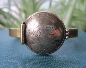 Sacagawea Coin Locket Cuff Bracelet in Brass. Ready to Ship.