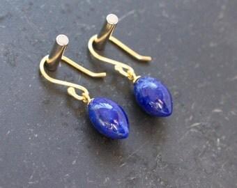 Lapis Earrings Blue Earrings Tear Drop Earrings OlIve Earrings Gemstone Earrings Gift For Her Jewelry Under 75 Small Earrings Bridal Earring