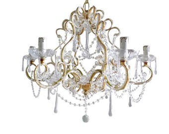 Gold leaf birdcage chandelier with 6 lights clear Murano drops Macaroni beads crystal swags 100% MADE IN ITALY