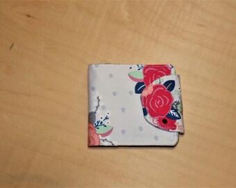 Grey rose floral wallet