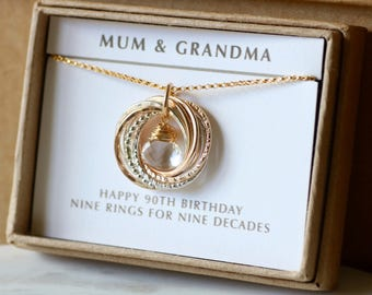 90th birthday gift idea, April birthday gift for grandmother, April birthstone necklace, 90th birthday necklace - Lilia