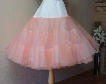 PEACH Tea Length Crinoline. EXTRA EXTRA Fullness Petticoat. Size L.