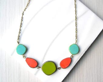 Bib Necklace, Multicolor, Czech Glass Jewlery, Coral Orange, Turquoise Blue, Avocado Green, Colorful, Antiqued Brass, Gold Tone