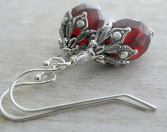 Vampire Earrings - Bright Red Earrings - Neo Victorian Jewelry - Victorian Earrings - Romantic Jewelry - Goth Bridal Jewelry - Red Jewelry