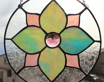 STAINED GLASS SUNCATCHER-Spring Stained Glass, Stained Glass Flower Suncatcher, Window Decoration, Under 40 Gift, Purple Glass, Mothers Day