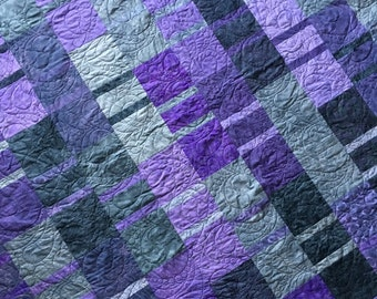 """Purple Passion Modern Quilt Kit - Pattern and Fabric by Janine Burke - 75.5"""" Square Lap Quilt"""