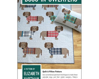 Dogs in Sweaters by Elizabeth Hartman - Quilting Pattern Dachshunds in Sweaters and Glasses