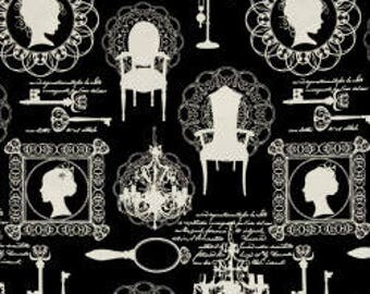 Fashion Sense for Timeless Treasures - Full or Half Yard Silhouettes on Black - Cameos, Chairs, Keys, Chandeliers White on Black