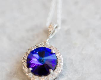 Purple Necklace for Bride, Violet Bridesmaid Necklace, Heliotrope Swarovski Necklace, Crystal Pendant Necklace, Purple and Turquoise Wedding