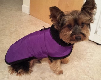 Purple Waterproof, insulated, breathable Sherpa Lined  Dog Winter Jacket, Dog Coat, Dog Jackets, Dog Jacket