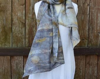 Mixed media print, eco print scarf, hand printed scarf, silk scarf, designer scarf, OOAK scarf, botanical print