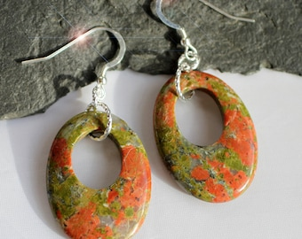 Spring Garden - Unakite Sterling Silver Earrings