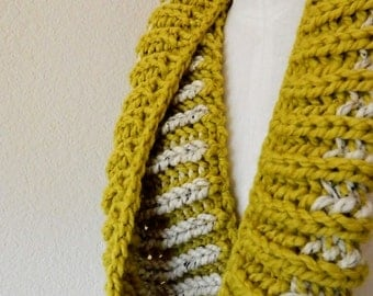 Citron Yellow - Oatmeal 2-color Chunky Mini- Infinity Scarf - Handknit, Ready to Ship