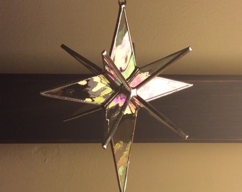 "Stained glass star - 5"" Bethlehem Star, 12 point"