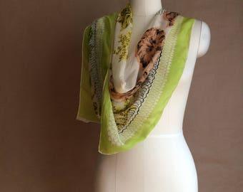 WEEKEND SALE! vintage 1940's 50's silk scarve / muted palette / gentle floral print / sheer