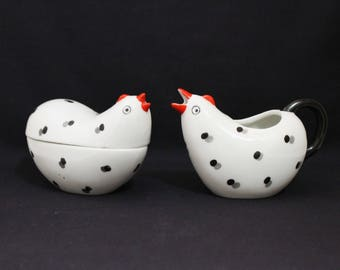Lefton Spotted Chicken Creamer and Sugar Bowl - (419-2)