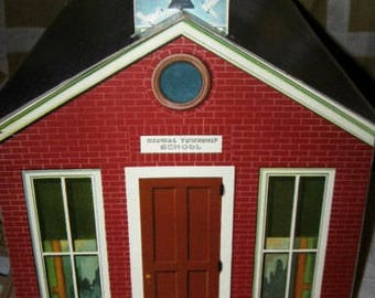 Vintage Renwal Little Red Township School House Dollhouse Unused
