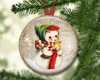 Snowman Christmas ornaments - snowman ornaments for tree -  large magnet for the kitchen - MA-1343