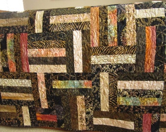 Handmade Quilt, Batik Quilt, Patchwork Quilt, Lap Quilts, Quilted Throw, Homemade Quilt, Sofa Quilt, Home Decor, Black Brown Quilt