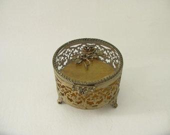 Vintage glass brass filigree box, velveteen lined, beveled glass, round, trinket box