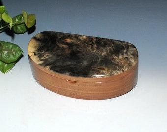 Handmade Kidney Shaped Wooden Box With a Tray, Wood Jewelry Box or Stash Box - Buckeye Burl on Walnut - USA Made by BurlWoodBox