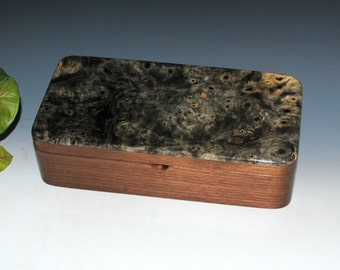 Handmade Wood Box With Tray - Buckeye Burl on Walnut - Great Guy Choice - Stash Box, Jewelry Box, Wooden Jewelry Box Tray, Wood Jewelry Box