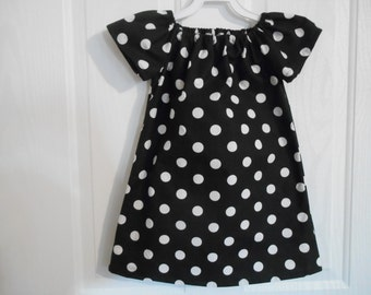 Peasant dress girls black white dots flutter sleeves or elastic sleeves choice of sleeve color available infant thru 8 years