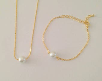 Floating Bridesmaid Gift Jewelry Set - Single Pearl Necklace and Bracelet Jewelry Set - Bridal, Wedding