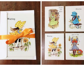 Vintage Note Cards and Envelopes by Anneliese 1980s Children Greeting Set of 4 Notecards