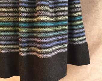 Vintage 50's Skirt, Full Skirt, Flecked Tweed Wool Winter Skirt, Gray with Blue Stripes, Women's Small, Waist 26, SALE