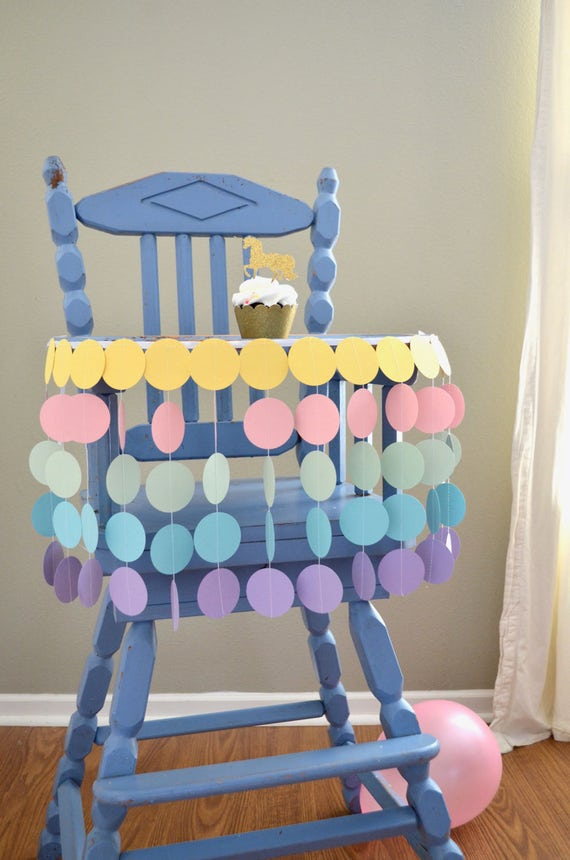 Pastel Rainbow Highchair Birthday Banner - unicorns and mermaids!