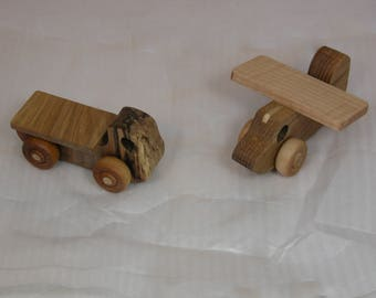 Child's Toy - Airplane and Truck - Pair of Wooden Vehicles - Kids Toy - Flatbed Truck and Airplane