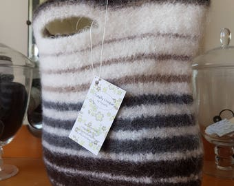 Cream and Brown Felted Bag
