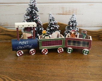 Wooden Santa Train With Wood Toys