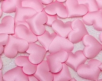 100 pcs Light Pink Heart Confetti Wedding decoration confetti padded hearts fabric hearts Heart Petals Engagement Confetti Table Decoration