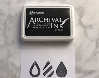 Jet Black Ranger Archival Ink, Black Ranger Ink, Ink Pad, 2.5 inch x 3.5 inch, Waterproof Acid free ink, Quick Drying Ink