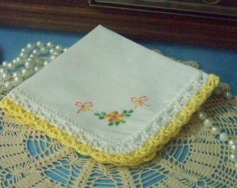 Floral Handkerchief, Hankie, Hanky, Ladies, Yellow, Orange, Hand Crochet, Lace, Embroidered, Personalized, Monogrammed, Ready to ship