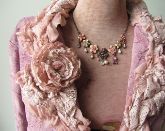 Dusty Rose Jacket WITH Necklace, Upcycled Recycled Repurposed Clothing, Shabby Chic Pink Blazer, Pink Brocade Jacket, Mori Girl Clothing