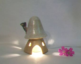 Mushroom Fairy House/ Garden House/Toad House - Larger Night Light Size - Ready to Ship - Your Choice - with or without Light