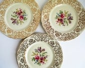Vintage Dinner Plates Heinrich Bavarian Floral Gold Set of Three