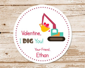 valentine's day tags or stickers . i dig you, loader, digger . personalized . favor tags, gift tags . set of 12