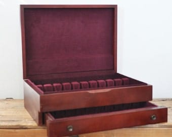 Vintage Wood Silverware Box Empty Flatware Chest Anti Tarnish Container Double Drawer