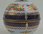 Porcelain Enamel Steinbock Austria Globe Jar Large Round Egg Container Gold Navy Blue Stands Upright  Jewelry Candy Storage Container